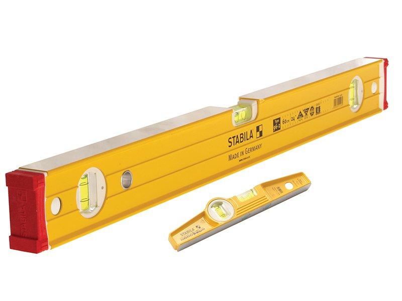Stabila-96-2-120cm-Double-Plumb-Box-Level-81S-Rare-Earth-25cm-Level-Pack